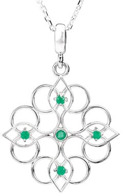 Sterling Kaleidoscope Pendant With Emeralds -