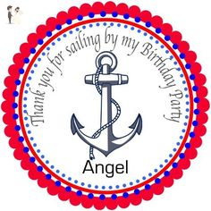 """40 Round Labels 2"""" Personalized Anchor Birthday Stickers, Nautical Custom Hangtags, Party Favors Labels, Cupcake Toppers, Choice Of Size - Cake and cupcake toppers (*Amazon Partner-Link)"""