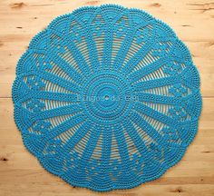 Blue Doily  Crochet  Home Decor  Beach House Decor  by pingosdoceu