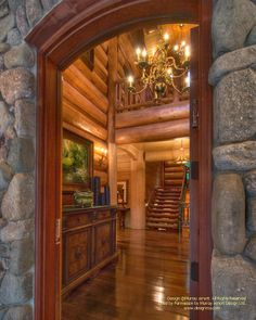 The entrance of a home I designed in the Catskills of New York.  #loghome #loghomedesign #loghomebuilders #postandbeam #NewYorkloghomes  For more photos or this or more of my designs, please check out my website, www.designma.com, my Design Page, www.facebook.com/loghomedesign