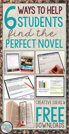 Six ways to help students find the perfect novel. Includes a FREE download. Perfect for middle school and high school English.