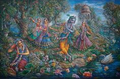 Krsna dances with the Gopis. Painting by Pushkar das.