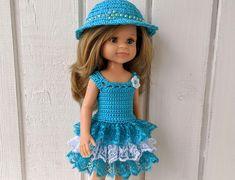 "Clothes for dolls Paola Reina doll 12""/32 cm crochet dress hat for doll clothing Barbie Clothes, Barbie Dolls, Crochet Cardigan, Crochet Hats, Doll Shop, Dress With Cardigan, Dress Hats, Handmade Dresses, Curvy"
