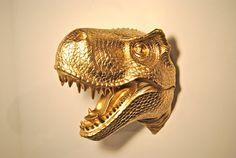 Gold TRex Dinosaur Head Wall Mount Dinosaur Faux by NearAndDeer, $124.99