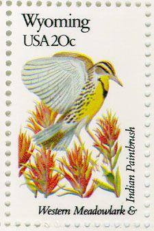 Wyoming State Bird & Flower Stamp, 1982