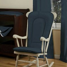 ... Rocking Chair Pad  Solid Navy Rocking Chair Pad  Carousel Designs