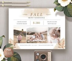 Fall Mini Session Template for Photography, Family Mini Session Template, Autumn Mini Session Flyer, Photography Mini Sessions, Photography Backdrops, Family Photography, Photography Studios, Lifestyle Photography, Children Photography, Photography Brochure, Photography Marketing, Creative Brochure