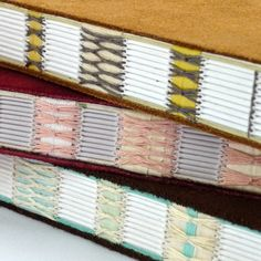 Suede notebooks with gorgeous stitching by Kate Bowles - #bookbinding