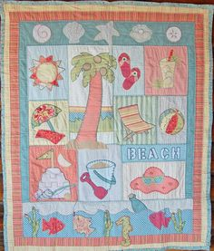 Items similar to A Summer Vacation quilt pattern to transport you to the island paradise of your dreams on Etsy Ocean Quilt, Beach Quilt, Japanese Quilt Patterns, Quilt Patterns Free, Quilt Baby, Small Quilts, Mini Quilts, Quilting Projects, Quilting Designs