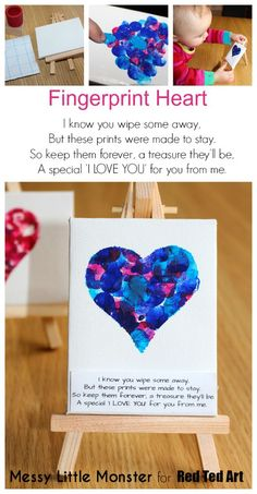 Fingerprint heart keepsake idea for valentines day or mothers day. FREE PRINTABLE POEM. Kids craft for toddlers, preschoolers, babies, eyes . Use a mini canvas or turn them into greeting cards. (Valentins Day Crafts)