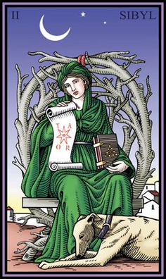 This illustration of an ancient sibyl with her hound is the High Priestess for the deck. The image is based on figures of Thessalica or Europea Sibylla, one of twelve ancient sibyls who were often depicted in Renaissance art. Thessalica lived in Greece near the town of Thebe, the walled city seen in the background.