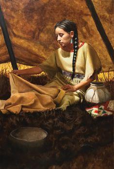 Joe Kronenberg, The Seamstress, oil, 36 x - Southwest Art Magazine Native American Face Paint, Native American Teepee, Native American Paintings, Native American Women, Native American Indians, Native Indian, Native Art, Indian Pictures, Southwest Art