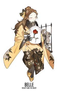 Esta artista china ilustra a las Princesas Disney usando bellos kimonos. Las amarás a todas.