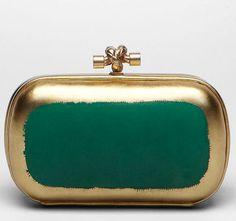 Bottega Veneta Irish Green Gilded Clutch | More colourful lusciousness here: http://mylusciouslife.com/photo-galleries/a-colourful-life-colours-patterns-and-textiles/