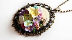 Naszyjnik - wiosenne kwiaty - Piecuchowo - Łańcuszki z wisiorkiem