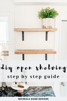 DIY Open Shelving Step by Step Guide to Kitchen Open Shelving.<br> An easy budget-friendly tutorial on how to create beautiful DIY open shelving. Keep reading for a step by step guide on how you can too! Trendy Home Decor, Easy Home Decor, Home Decor Kitchen, Kitchen Ideas, Apartment Kitchen, Modern Decor, Budget Kitchen Remodel, Kitchen On A Budget, Home Renovation