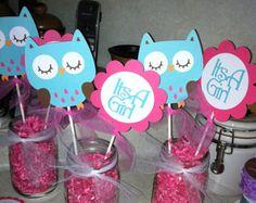 Centro de mesa de Baby Shower buho palillos por MindysPaperPiecing