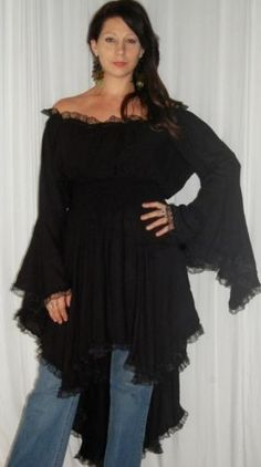 BLACK BLOUSE TOP PEASANT LACE RUFFLED - FITS - PLUS- 4X 5X 6X - S567S LOTUSTRADERS LOTUSTRADERS. $58.99