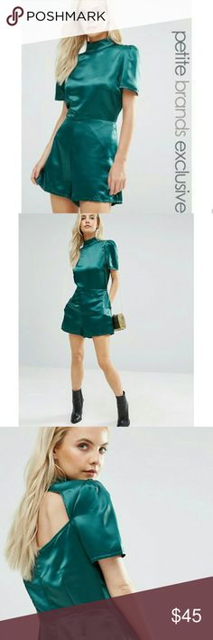 NWT ASOS | Satin Romper 4P Overhaul your party-girl wardrobe w/this standout romper! Sexy yet classy this piece is great w/dressy sandals or add stilettos for girl's night.  * ASOS by Fashion Union * Color: Emerald Green * 100% polyester creates a structured woven fabric with a smooth sateen finish * Side pockets * Double button keyhole open back * Back zip * Machine washable  * High quality garment * Tagged 4P | Fits TTS but plz ask for measurements   Reasonable offers considered. Over 175…