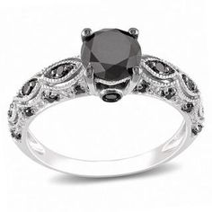 @Overstock.com - Miadora 10k White Gold 1 1/4ct TDW Black Diamond Ring - Round-cut black diamond ring10-karat white gold jewelry Click here for ring sizing guide  http://www.overstock.com/Jewelry-Watches/Miadora-10k-White-Gold-1-1-4ct-TDW-Black-Diamond-Ring/5995166/product.html?CID=214117 $424.99
