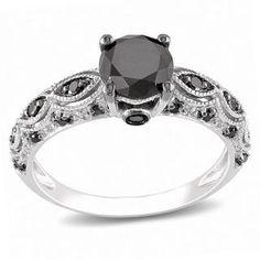 @Overstock.com - Miadora 10k White Gold 1 1/4ct TDW Black Diamond Ring - Round-cut black diamond ring10-karat white gold jewelry Click here for ring sizing guide  http://www.overstock.com/Jewelry-Watches/Miadora-10k-White-Gold-1-1-4ct-TDW-Black-Diamond-Ring/5995166/product.html?CID=214117 $424.99