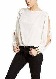 ALI & KRIS, Off the Shoulder Blouse with Metal Cuffs