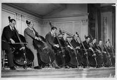 NY Philharmonic double bass section 1941 Cello, Violin, All About That Bass, First Down, Double Bass, Sound Of Music, Vintage Pictures, Historical Photos, Orchestra