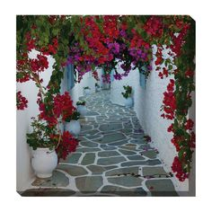 West of the Wind Bougainvillea Path Outdoor Canvas Art - 24 x 24 in. - 79029-24