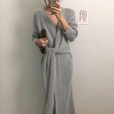 Fashion V Neck Cross Bandage Slim Knitted Dresses – FashionLoveHunter