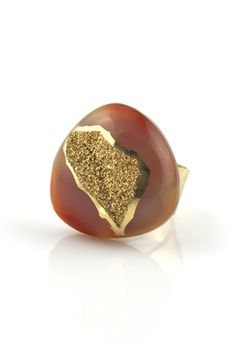 Golden Druzy Ring