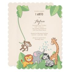 safari jungle animals modern baby shower invitation