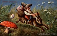 Divided Back Postcard Gnome Riding Bunny With Bunnies Easter Art, Hoppy Easter, Easter Bunny, Troll, The Art Of Storytelling, Spring Images, Kobold, Elves And Fairies, Fantasy Inspiration