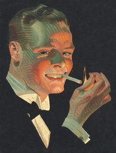 J.C. Leyendecker, original oil painting, illustration art for Chesterfield Cigarettes ad.