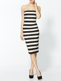 Piperlime | Graphic Stripe Strapless Dress