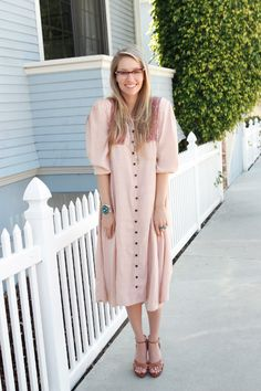 Pale pink button down maxi