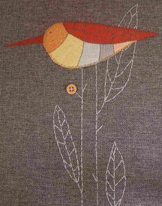 sweet little fabric collage + embroidery (via design*sponge)