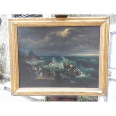 Dipinto olio su tela - Mare in tempesta - fine '800 - Antichità S. Andrea