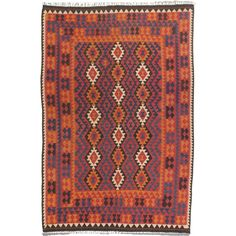 Handwoven in Afghanistan, with dynamic and colorful Caucasian patterns.