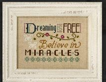 "Dreaming Is Free is the title of this cross stitch pattern from Lizzie Kate's series titled ""Three Little Words""."