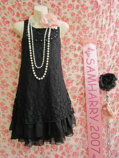 NEW LOOK GATSBY CHARLESTON 20'S STYLE BLACK LACE BEAD FLAPPER MINI DRESS 14
