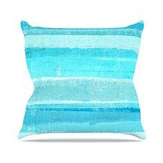 KESS InHouse CT3052AOP03 18 x 18-Inch 'CarolLynn Tice Sand Bar Teal Blue' Outdoor Throw Cushion - Multi-Colour ** Click image to read more details. #GardenFurnitureandAccessories