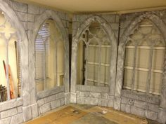 carved foam windows during the paint process from Halloween Forum member