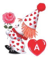 Alfabeto de payasitos con rosa y corazón.
