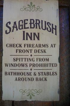 Sagebrush Inn primitive rustic wild west saloon bar old west hotel firearms bathhouse stables ghost town tumbleweed. $18.50, via Etsy.
