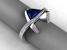 Tanzanite and pink sapphire ring