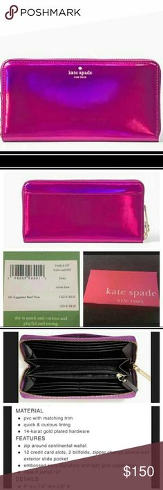 Kate Spade Hologram Lacey Wallet Kate Spade Rained Lane Iridescent Baja Rose (purple/pink)   Lacey zip around accordion Continental Wallet.  Gold accents and hardware,  nice black lining.  Excellent condition,  used twice. Open to offers 💜 kate spade Bags Wallets