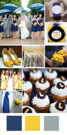Navy yellow and gray color combination for a wedding