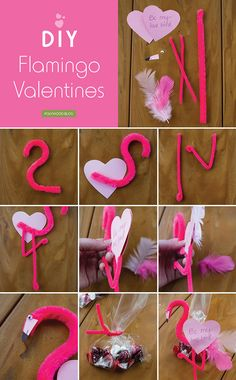 DIY Flamingo Valentines For me, Valentine's Day hasn't really been the same since elementary school–who doesn't love valentine notes and, more importantly, lots of candy. Flamingo Party, Flamingo Craft, Flamingo Decor, Flamingo Birthday, Valentines Bricolage, Valentine Day Crafts, Valentine Decorations, Holiday Crafts, Valentine Ideas