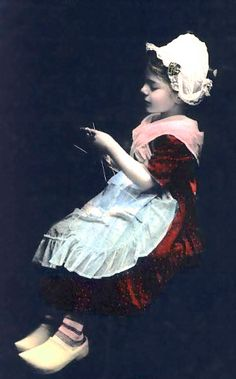 Dutch girl knitting