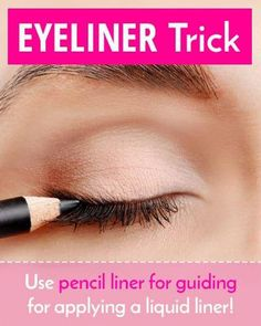 Tricky Liquid Eyeliner #BestEyeliner Simple Eyeliner, Best Eyeliner, How To Apply Eyeliner, Beauty Tips For Skin, Beauty Bar, Skin Care Tips, Beauty Tricks, Eye Shadow Application, Waterline Eye Liner
